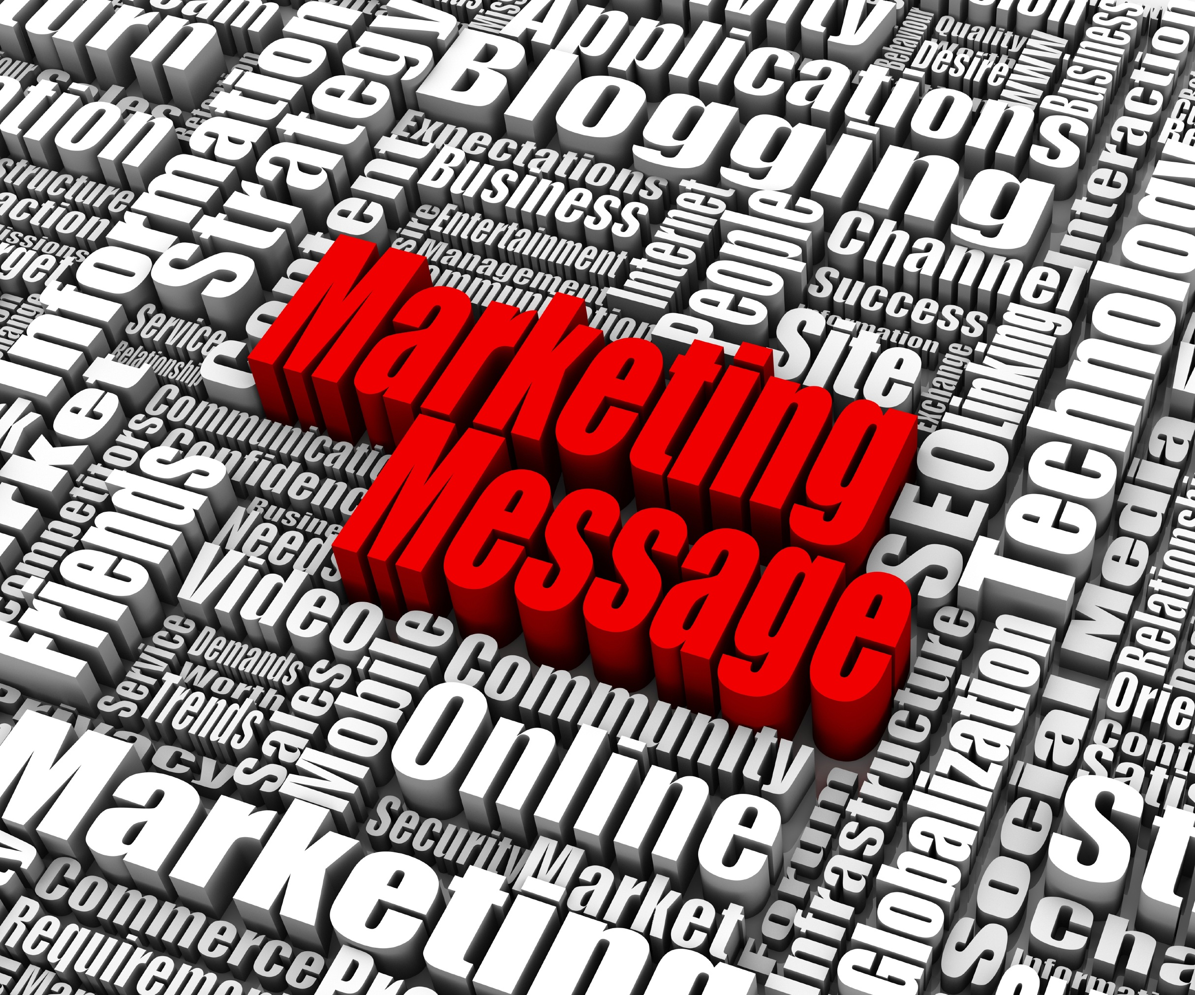 Group of Marketing Message related words. Part of a business concept series.