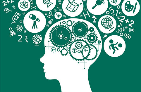 The concept of modern education.  Template with silhouette of the child head with gears surrounded by science and education icons.